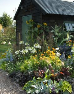 A blackened shed serves as a backdrop for a colorful garden. They have an orchard with beehives, cut flowers, fruit, vegetables, and nursery stock, as well as a dovecote, free-range hens, and ducks. From the new book Cultivating Garden Style.