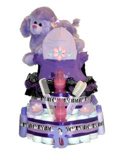 Purple Diaper Cake for Baby Girl by ChicBabyCakes on Etsy, $115.00