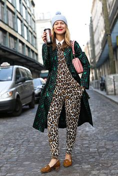 Très Chic! The Best Street Style at Paris Fashion Week: Natalie Joos pulled off high-impact print on print with ease.