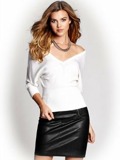 GUESS Women's Dolman-Sleeve V-Neck Pullover, TRUE WHITE (SMALL) - http://brandnamedesignersmall.com/product/guess-womens-dolman-sleeve-v-neck-pullover-true-white-small/