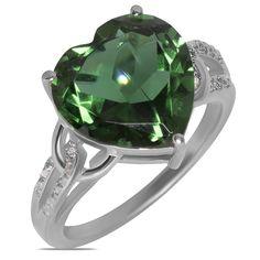 Amazon NissoniJewelry presents - .025CT w/ Simulated Emerald Heart Fashion Ring 10k W/Gold    Model Number:FRV4017A-W077SE    http://www.amazon.com/dp/B01093NRYS