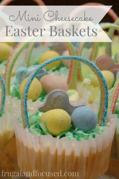 These Mini Cheesecake Easter Baskets are as tasty as they are adorable. Your family will love these for dessert with Easter dinner.