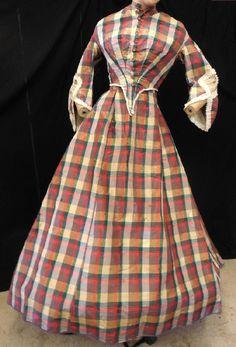 ORIG VICTORIAN 1860 CIVIL WAR PLAID SILK TAFFETA HOOP PAGODA DRESS GOWN  #CIVILWARDRESS #SEEDESCRIPTION