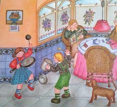 """Cuento: """"Nico y Ana quieren ser músicos""""  Las clases del conservatorio han terminado y Nico y Ana (que tocan la flauta y el violín) han tocado sus instrumentos en la fiesta de fin de curso. Después acuden al concierto de la banda de su pueblo y les ha gustado tanto que desean estar en la banda cuando sean mayores. Cuando llegan a casa comienzan a improvisar con las ollas y sartenes de la cocina, pero hacen tanto ruido que el perro les ladra y su padre les promete que asistirán a otro…"""