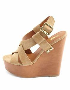 Woven Front Slingback Platform Wedge Sandals: Charlotte Russe
