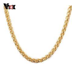 Vnox ouro dài vòng cổ statement vòng cổ cho nam giới/phụ nữ vàng-màu cho chuỗi tự làm mặt dây chuyền