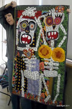 awesome Dia de los Muertos skeleton quilt