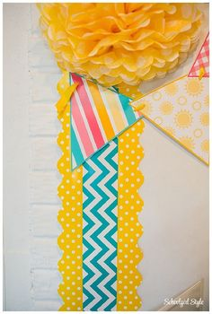 The Yellow Mini Polka Dots used here in the Schoolgirl Style classroom.