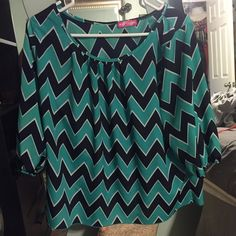 Green, white and black chevron slit back blouse Adorable chevron blouse with slit back. You do not have an exposed back unless a gust of wind comes haha. Elastic around the cuffs. No nicks or stains. Practically brand new! Worn twice. Make me an offer!! Body Central Tops Blouses