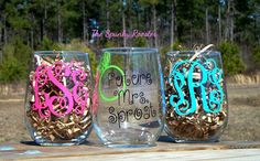 Monogrammed Stemless Wine Glass by TheSpunkyRooster on Etsy, $14.50
