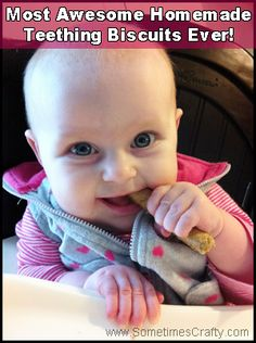 I ran across this fabulous homemade teething biscuit recipe on Pinterest (where else?) and decided to give it a shot. I'm so glad I did! It's very easy to make and Little Baby lo…