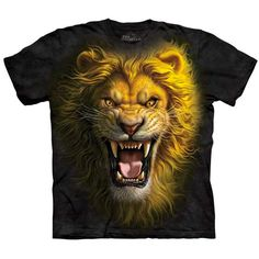 The Mountain ASIAN LION Face T-Shirt Angry Growling Mad Animal Mens Sizes S-5XL #TheMountain #GraphicTee