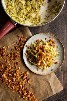 A quick easy vegan side dish for your holiday table! Shaved brussels sprouts are sauteed and topped with smoky coconut bacon. Side Dish Recipes, Veggie Recipes, Vegetarian Recipes, Vegan Side Dishes, Vegetable Side Dishes, Bacon Hash, Quick Easy Vegan, Coconut Bacon, Vegan Thanksgiving