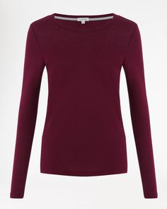 Pima Cotton Long-Sleeve T-Shirt in Damson from Jigsaw