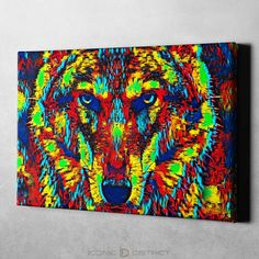 Colorful Abstract Wolf Canvas Art - 8 x 12
