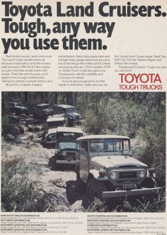 Fj Cruiser, Toyota Land Cruiser, Toyota Fj40, Old Lights, Old Ads, New Toys, Vintage Cars, 4x4, Grateful Dead