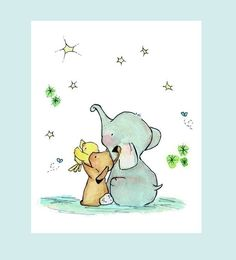 Elephant, Bunny, and Chick Wishing on a Star nursery print