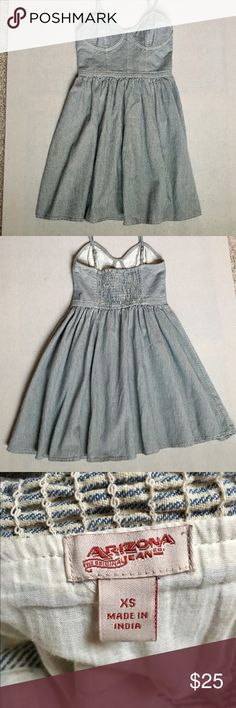 Striped denim spaghetti strap dress Super cute dress for your summer cookout parties! Arizona Jean Company Dresses Mini