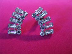 Vintage Juliana Earrings Clear Open Back Baguette Round Rhinestone Earrings Clip #Juliana #Cluster
