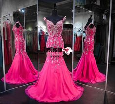 2017 New Fuchsia Luxury Mermaid Reception Evening Dresses Sweetheart Cap Sleeves Backless Major Beading Crystals Prom Pageant Dresses