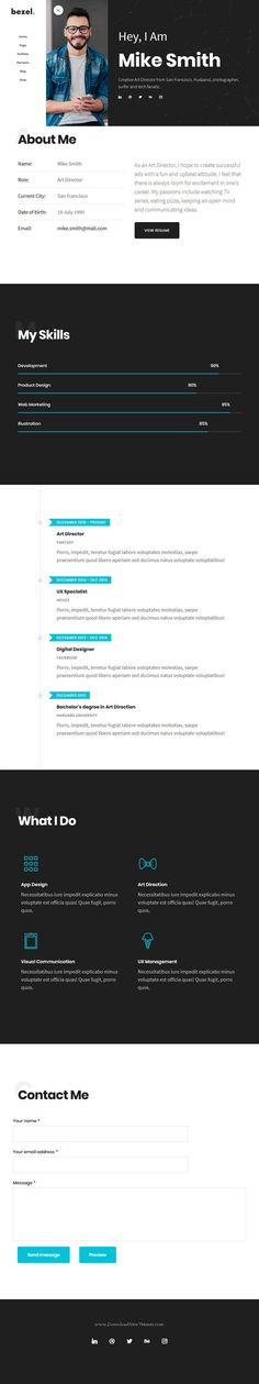 Bezel is clean and modern design multipurpose responsive #Drupal theme for creative #resume #CV and #vCard website with 15 niche homepage layouts download now..