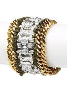 Leslie Danzis 2-Tone Woven Ribbon Bracelet