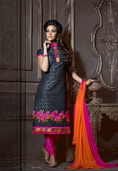 Black #Color Designer Chanderi #Cotton Salwar #Suit