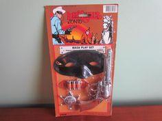 LONE RANGER & TONTO Mask Play Set Click Pistol Badge Toys Silver Bullets Larami #Larami