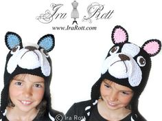 Handmade Crochet French Bulldog Boston Terrier Puppy Dog Hat for Babies, Kids and Adults