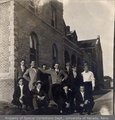 11 Preps 1911. In front of Lincoln Hall, University of Nevada