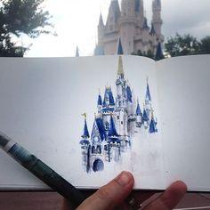 Castle Sketch, Disney Castle Drawing, Disney Drawings, Disney Castle Tattoo, Croquis, Disneyland Castle, Disneyland Photos, Disney Castles, Walt Disney World