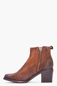 DIESEL Brown Leather Pink Booties