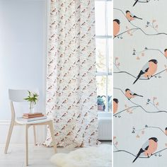 Bullfinch bird fabric, perfect for curtains or blinds. Light, coral interior. Design by Lorna Syson