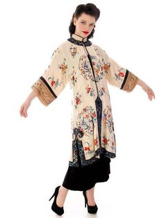 Antique Chinese Coat White Silk Satin Vintage Womens Silk Embroidered – The Best Vintage Clothing  #vintage #1920s