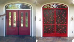 Before & after installation of wrought iron security screen doors 'french doors'
