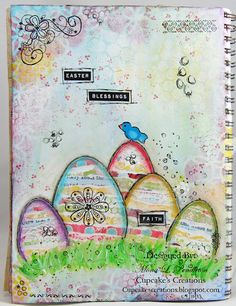 I made this Easter themed page in my art journal using fun products from the Pink Paislee She Art collection designed by Mona Pendleton.