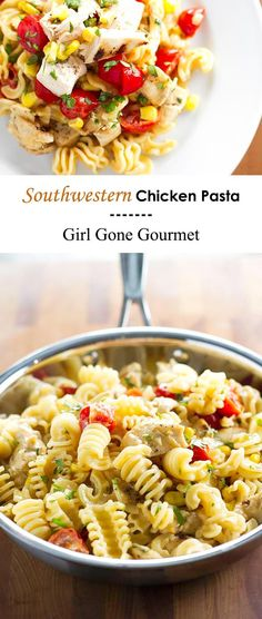 Grilled chicken, cherry tomatoes, and corn tossed together in a  creamy chipotle cream sauce | girlgonegourmet.com