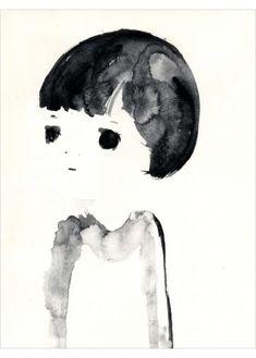 Black & White Portrait of a Kid by Japanese Painter Kentaro Minoura