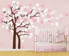 Kids Wall Decal Wall Sticker tree decal cherry blossom decals nursery Decals- Trailing Cherry Blossom Tree