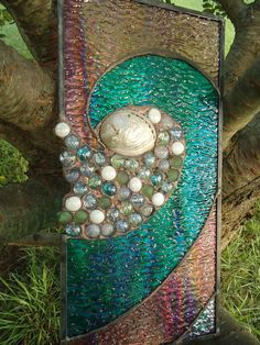 "Tiffany Styled Ocean Stained Glass Abalone Shell  Panell Suncatcher 9""x 18"". $105.00, via Etsy."