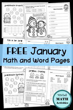 January Fun Pages Winter Activities Kindergarten Classroom Math Kindergarten Homework, Kindergarten Anchor Charts, Division Activities, Math Activities, Kindergarten Classroom, Classroom Desk, Elementary Math, Upper Elementary, Fourth Grade Math