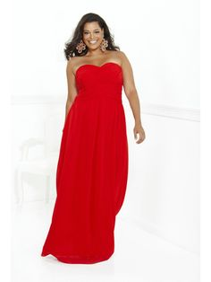 Affordable Column Sweetheart Long Red Chiffon Plus Size Prom / Evening / Formal / Party Maternity Dresses 2401043