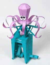 Animated paper octopus iwth double crank mechanism