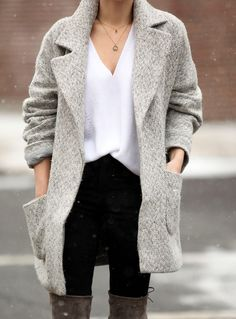 Textured coat over a thin white sweater