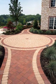 Walkway entrance featuring Unilock Il Campo and Brussels Block p Driveway Entrance Landscaping, Small Front Yard Landscaping, Outdoor Walkway, Outdoor Patio Designs, Driveway Design, Landscaping With Rocks, Backyard Landscaping, Driveway Ideas, Landscape Architecture Design