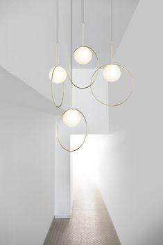 Pablo Designs' Bola Halo 12 Inch Pendant with Brass Ring Modern Pendant Light, Contemporary Pendant Lights, Modern Chandelier, Modern Light Fixtures, Brass Pendant Light, Ceiling Chandelier, Ceiling Decor, Ceiling Lights, Unique Lighting