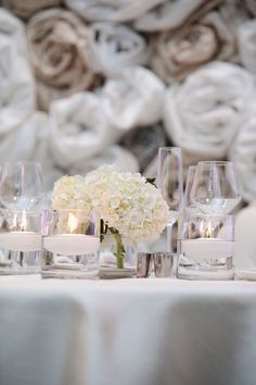 #hydrangeas #centerpiece Photography by kristinvining.com Event Planning by weddingsandthecity.com Floral Design by theplaceforflowers.com/  Read more - http://www.stylemepretty.com/2013/06/11/charlotte-wedding-from-kristin-vining-photography/