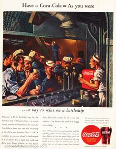 A collection of Coca Cola Advertising from WWII soldiers Pepsi Ad, Coca Cola Ad, Vintage Ads, Vintage Posters, Ww2 Posters, Soda Fountain, Vintage Recipes, Refreshing Drinks, Print Ads