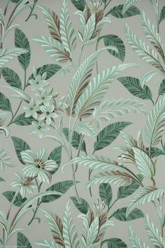 1950's Vintage Wallpaper Large Tropical Leaf green and brown floral pattern | eBay