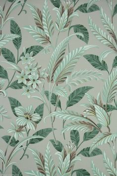 1950's Vintage Wallpaper Large Tropical Leaf green and brown floral pattern | eBay